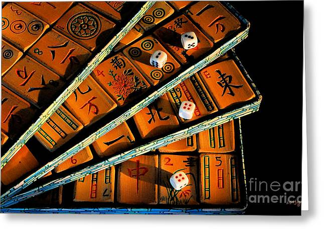 Mad For Mahjong Greeting Card by Lois Bryan