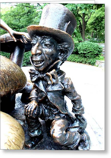 Mad Hatter Greeting Card by Debra Forand