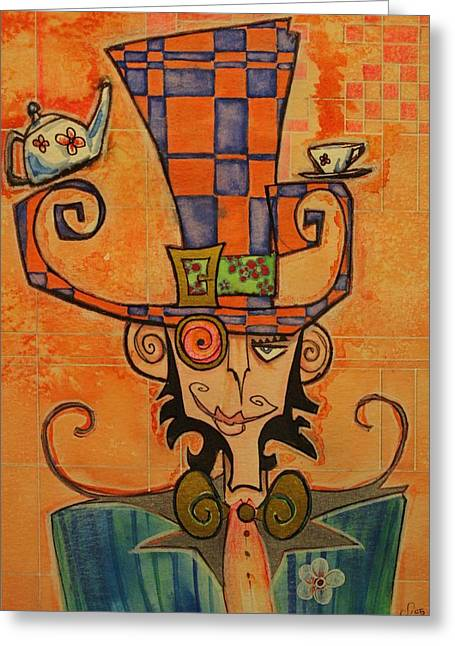 Mad Hatter Greeting Card by Ellen Henneke