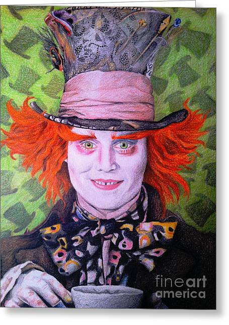 Mad Hatter Greeting Card by Jessica Zint