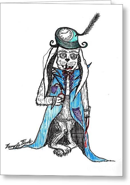 Mad Hatter Rabbit Greeting Card