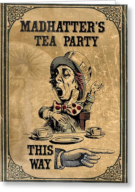 Mad Hatters Tea Party Greeting Card by Greg Sharpe
