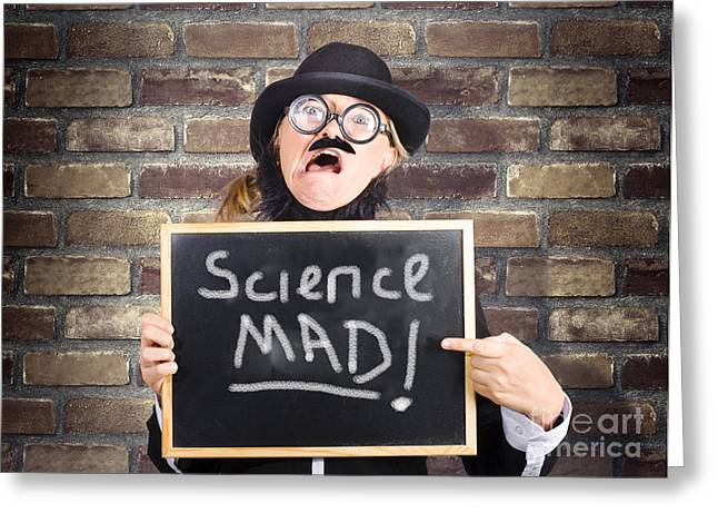 Mad Scientist Showing Blank Science Diagram Greeting Card