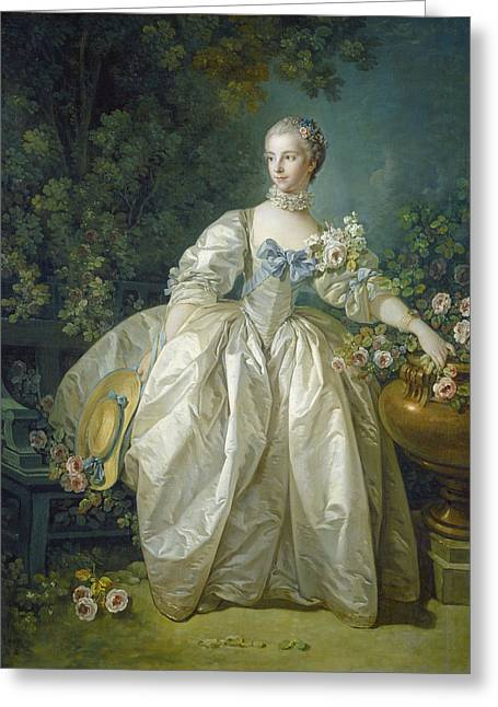 Madame Bergeret, C. 1766 Oil On Canvas Greeting Card