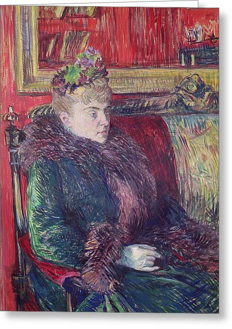 Madame De Gortzikoff, 1893 Oil On Canvas Greeting Card by Henri de Toulouse-Lautrec