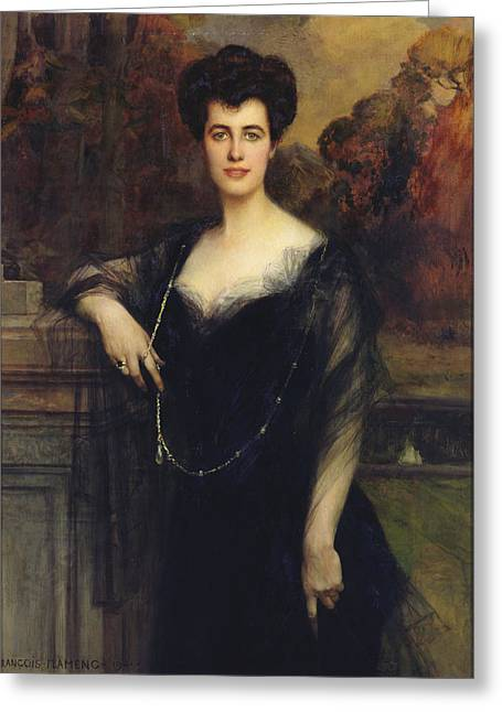 Madame Faure, 1901 Oil On Canvas Greeting Card by Francois Flameng