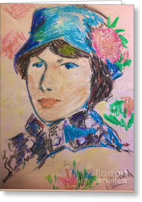 Madame In A Blue Straw Hat Greeting Card by Joan-Violet Stretch