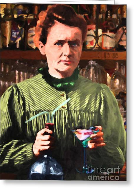 Madame Marie Curie Shaking Up A Killer Martini At The Swank Hipster Club 88 20140625 Greeting Card