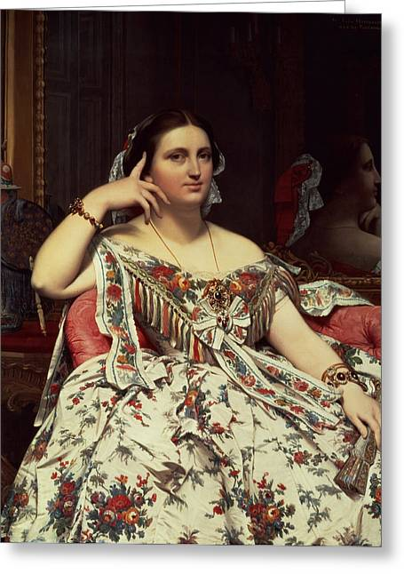 Madame Moitessier, 1856 Oil On Canvas Greeting Card by Jean Auguste Dominique Ingres