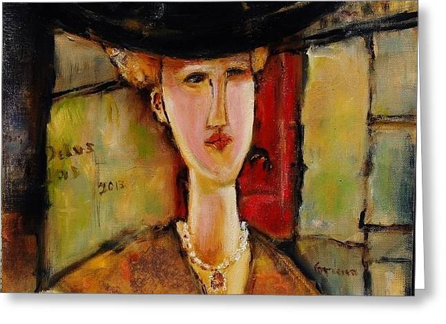 Madame Pompador As A Tribute To Modigliani Greeting Card by Jean Cormier