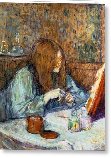 Madame Poupoule At Her Toilet Greeting Card by Henri de Toulouse-Lautrec
