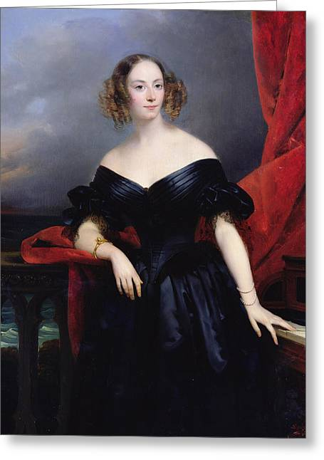 Madame Rampal, Comtesse De Grigneuseville Oil On Canvas Greeting Card by Claude-Marie Dubufe