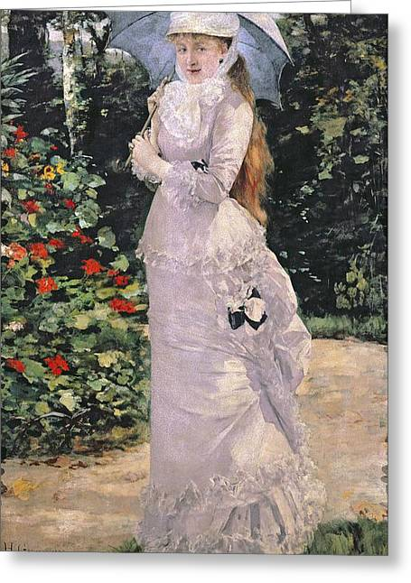 Madame Valtesse De La Bigne Greeting Card by Henri Gervex