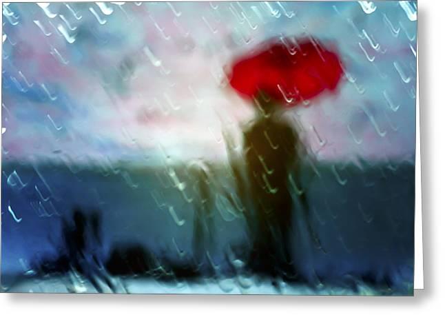 Madame With Umbrella Greeting Card by Alfio Finocchiaro