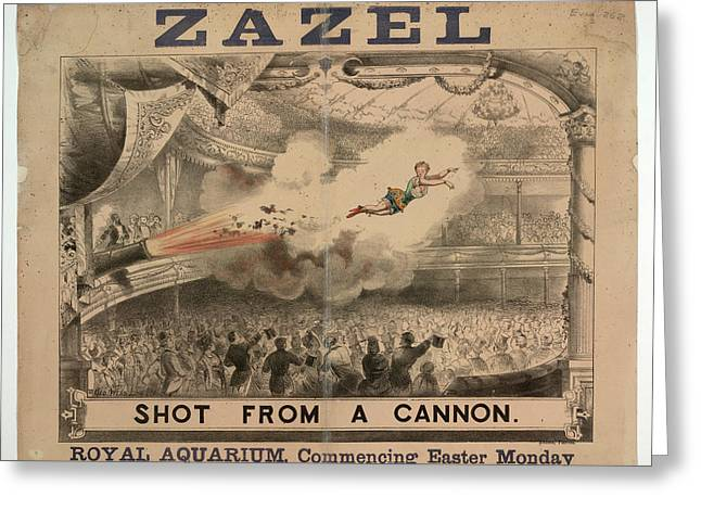 Madame Zazel Shot From A Cannon Greeting Card by British Library
