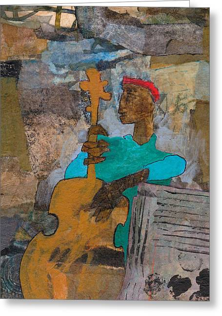 Greeting Card featuring the mixed media Madcap Bass by Catherine Redmayne