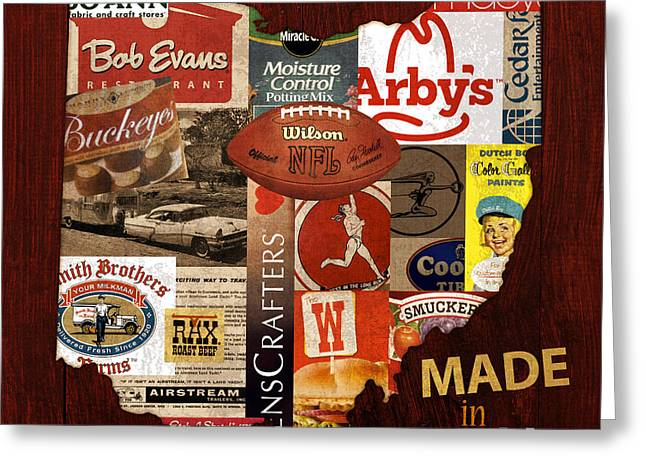 Made In Ohio Products Vintage Map On Wood Greeting Card by Design Turnpike