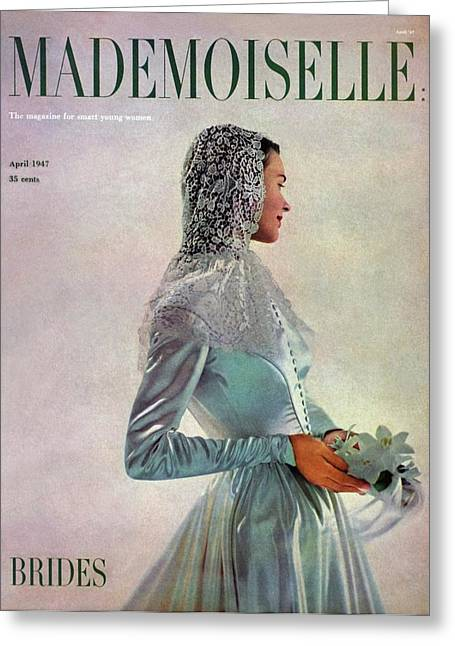 Mademoiselle Cover Featuring A Bride Greeting Card by Gene Fenn