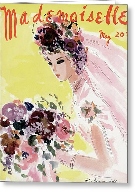 Mademoiselle Cover Featuring A Bride Greeting Card by Helen Jameson Hall