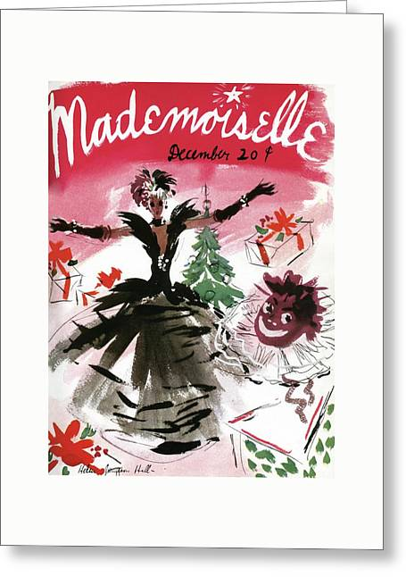 Mademoiselle Cover Featuring A Doll Surrounded Greeting Card by Helen Jameson Hall