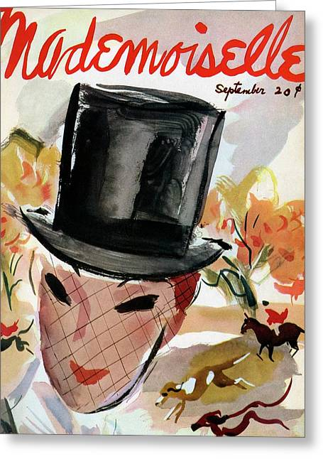 Mademoiselle Cover Featuring A Female Equestrian Greeting Card