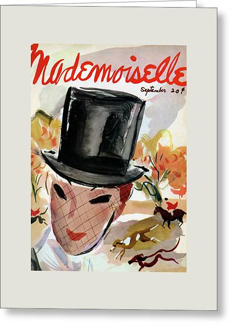 Mademoiselle Cover Featuring A Female Equestrian Greeting Card by Helen Jameson Hall