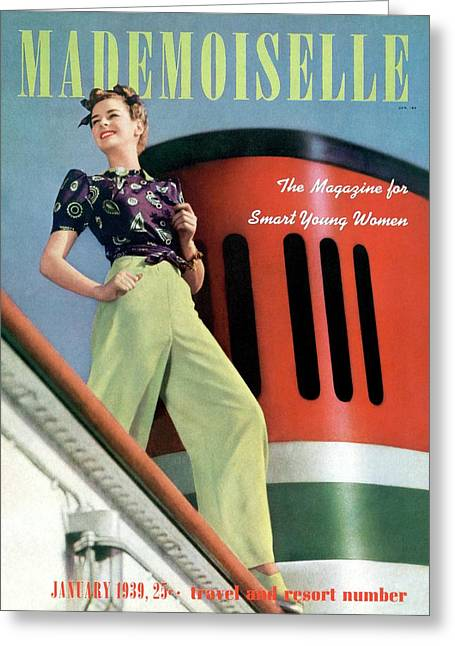 Mademoiselle Cover Featuring A Model Aboard Greeting Card by Paul D'Ome