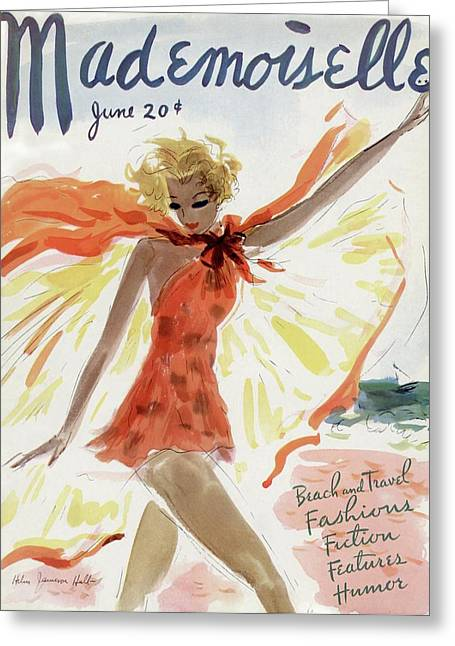 Mademoiselle Cover Featuring A Model At The Beach Greeting Card by Helen Jameson Hall
