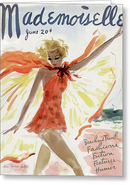 Mademoiselle Cover Featuring A Model At The Beach Greeting Card