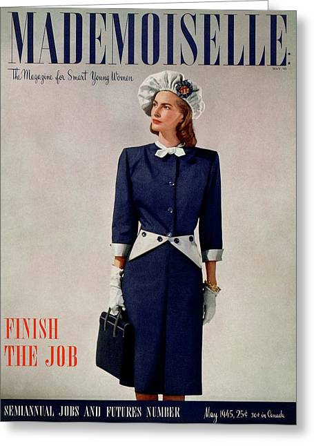 Mademoiselle Cover Featuring A Model In A Duchess Greeting Card by Fritz Henle