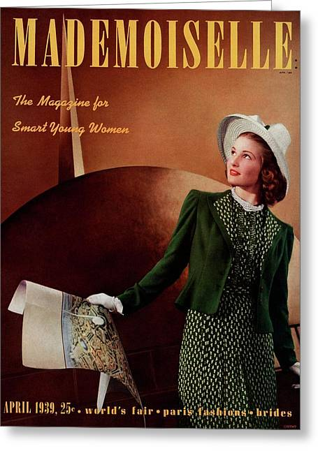 Mademoiselle Cover Featuring A Model In A Green Greeting Card by Paul D'Ome