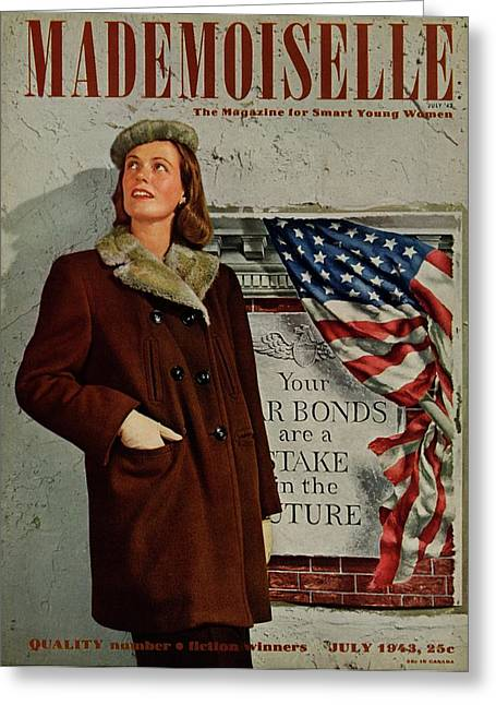 Mademoiselle Cover Featuring A Model In Front Greeting Card by George Karger