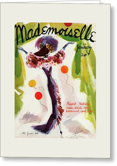 Mademoiselle Cover Featuring A Model Wearing Greeting Card by Helen Jameson Hall