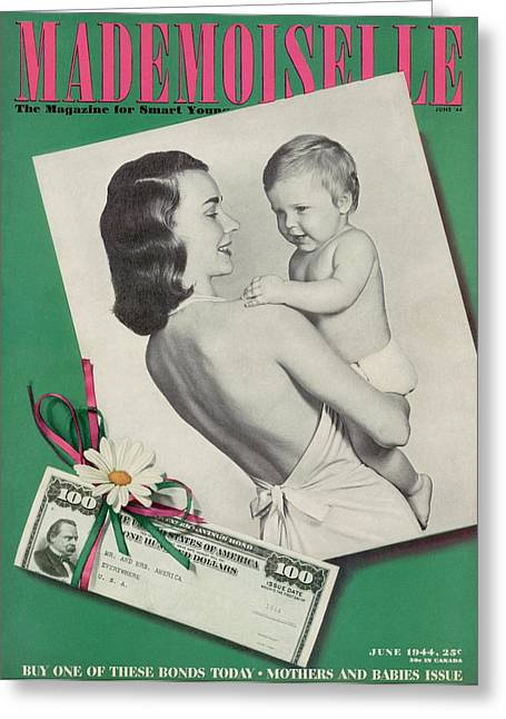 Mademoiselle Cover Featuring A Mother Holding Greeting Card by Fernand Fonssagrives