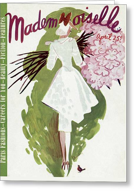Mademoiselle Cover Featuring A Woman Carrying Greeting Card by Elizabeth Dauber