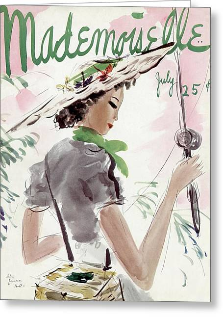 Mademoiselle Cover Featuring A Woman Holding Greeting Card by Helen Jameson Hall