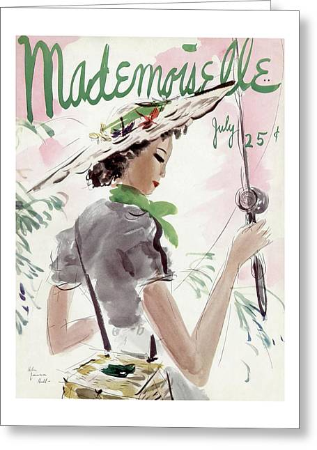 Mademoiselle Cover Featuring A Woman Holding Greeting Card