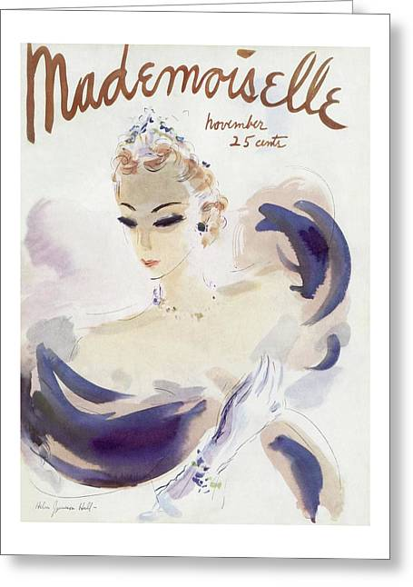Mademoiselle Cover Featuring A Woman In A Gown Greeting Card