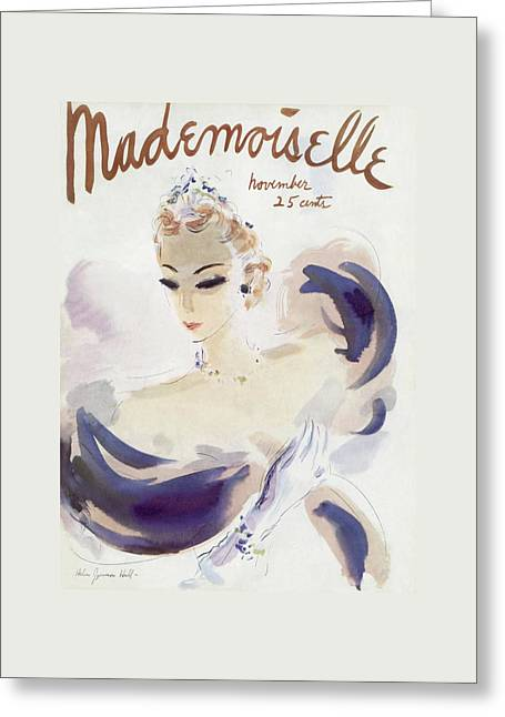 Mademoiselle Cover Featuring A Woman In A Gown Greeting Card by Helen Jameson Hall