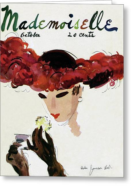Mademoiselle Cover Featuring A Woman In A Red Greeting Card