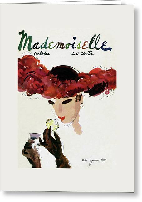 Mademoiselle Cover Featuring A Woman In A Red Greeting Card by Helen Jameson Hall