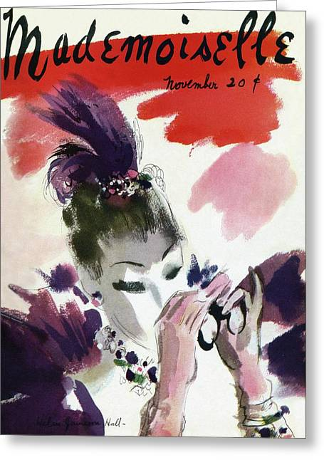 Mademoiselle Cover Featuring A Woman Looking Greeting Card by Helen Jameson Hall