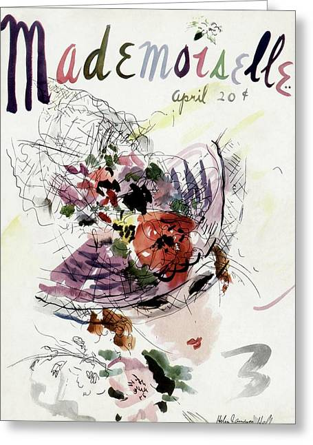 Mademoiselle Cover Featuring An Illustration Greeting Card by Helen Jameson Hall