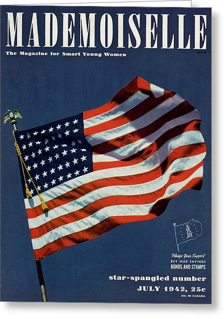 Mademoiselle Cover Featuring The U.s. Flag Greeting Card