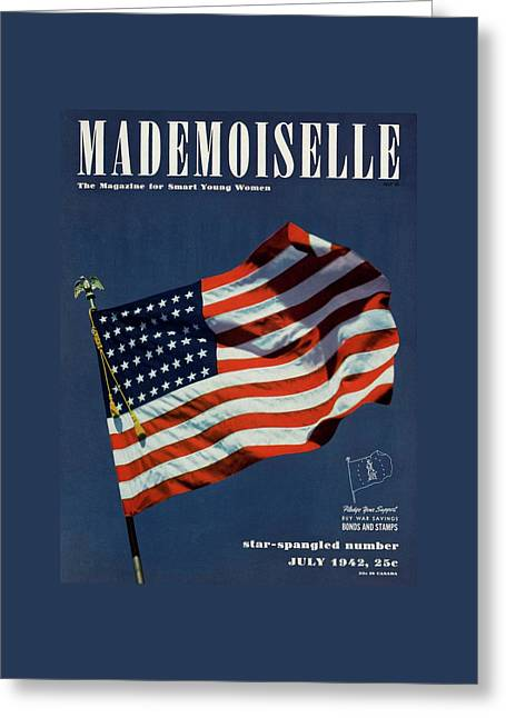 Mademoiselle Cover Featuring The U.s. Flag Greeting Card by Luis Lemus