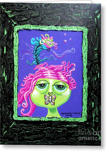 Mademoiselle Flutterby Greeting Card by Genevieve Esson