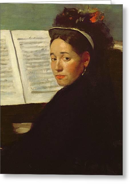 Mademoiselle Marie Dihau At The Piano Greeting Card