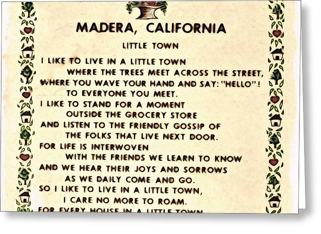 Madera Ca Little Town  Greeting Card