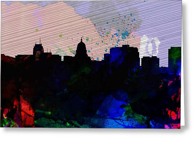 Madison City Skyline Greeting Card by Naxart Studio