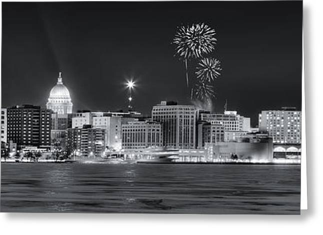 Madison - Wisconsin -  New Years Eve Panorama Black And White Greeting Card